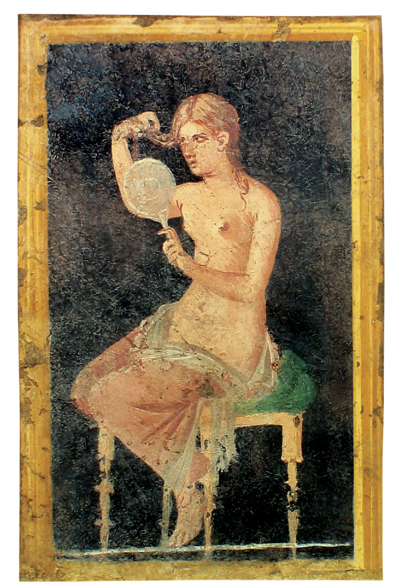 Fresco of a woman attending to her hair, Painted plaster, Stabiae, triclinium, Villa Arianna, Museo Archeologico Nazionale di Napoli (MANN)