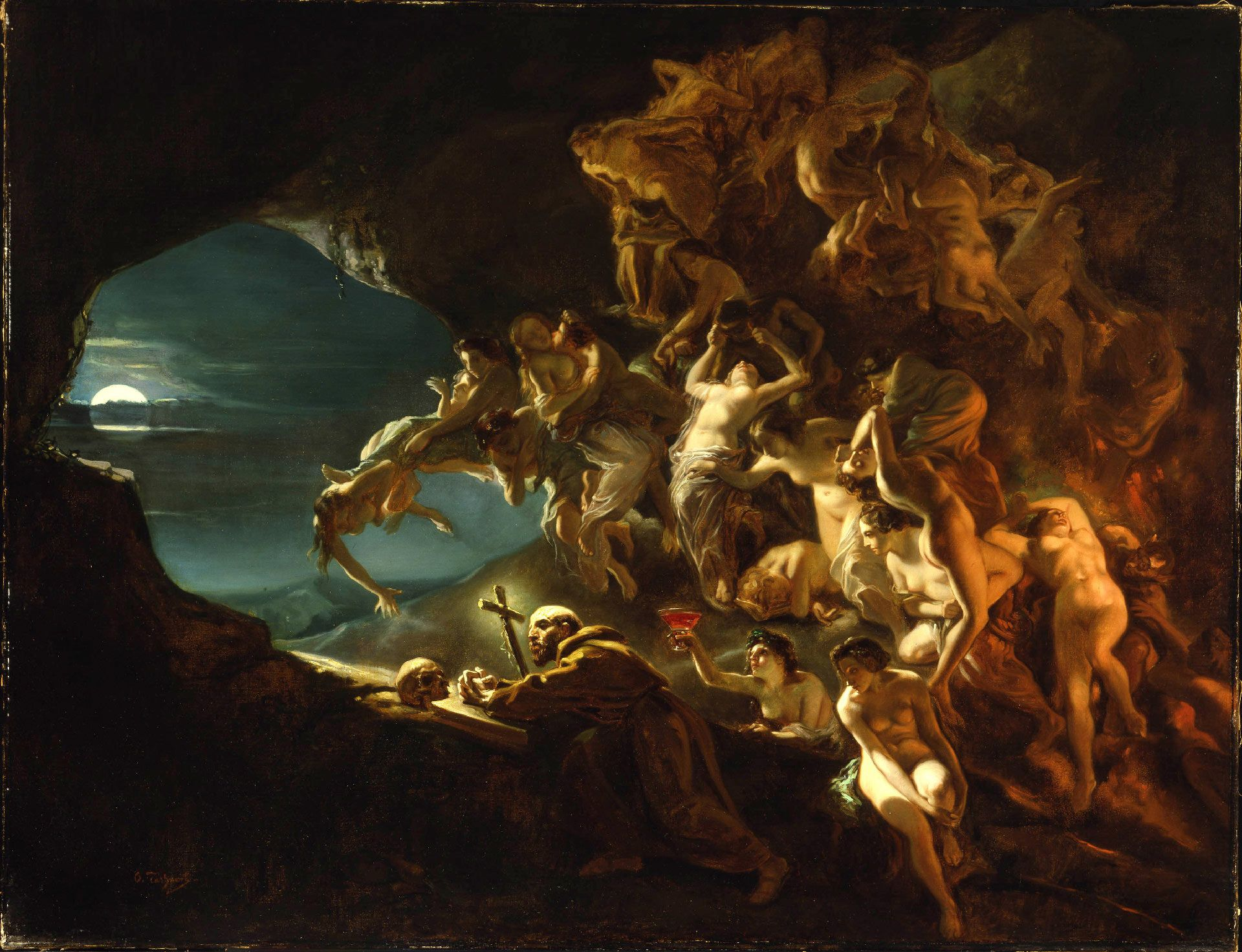 Octave Tassaert, The Temptation of Saint Hilarion, about 1857, oil on canvas, 111.4 x 144.3 cm. Purchase, gift of Mr. and Mrs. Michal Hornstein.