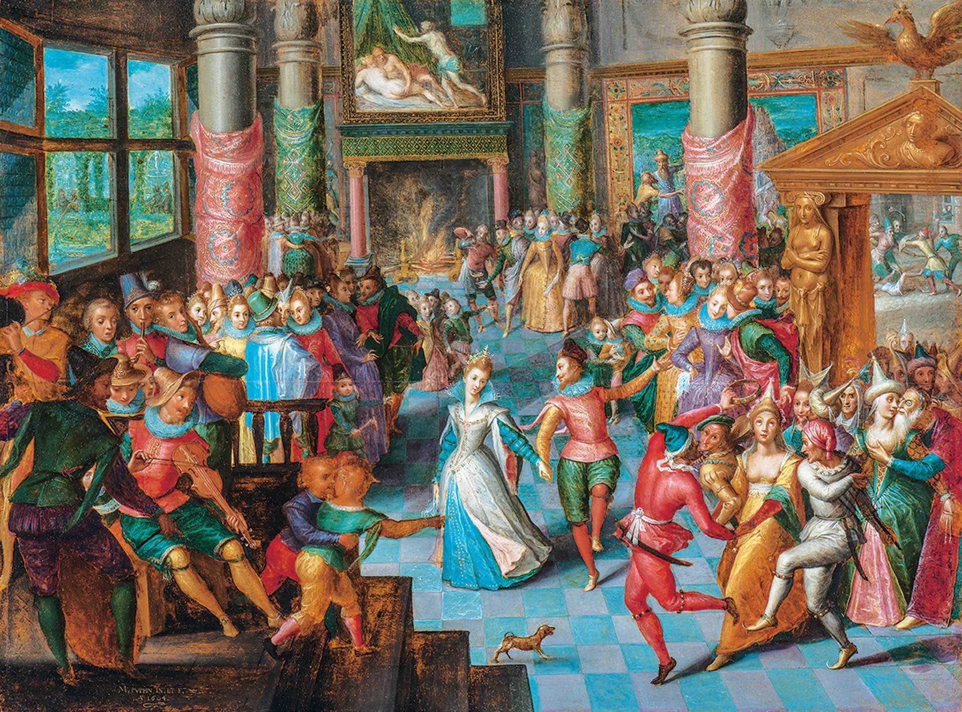 Marten Pepyn, Carnival Scene, 1604, tempera, oil and gold on wood, 50 x 67 cm. MMFA, Arthur M. Terroux Bequest.