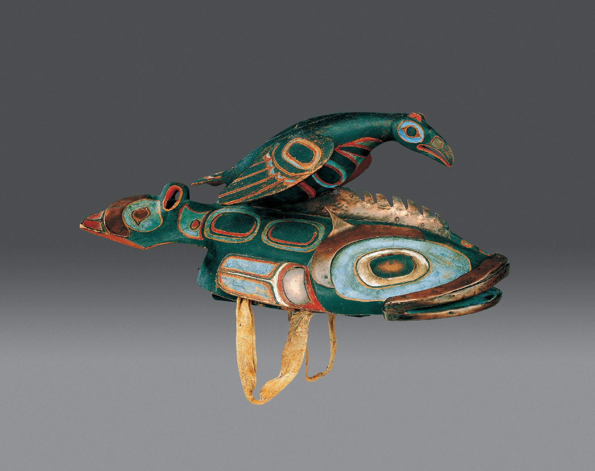 CÔTE NORD-OUEST, ALASKA, Haïda-kaigani ou tlingit, Casque à cimier, fin XIXe s.