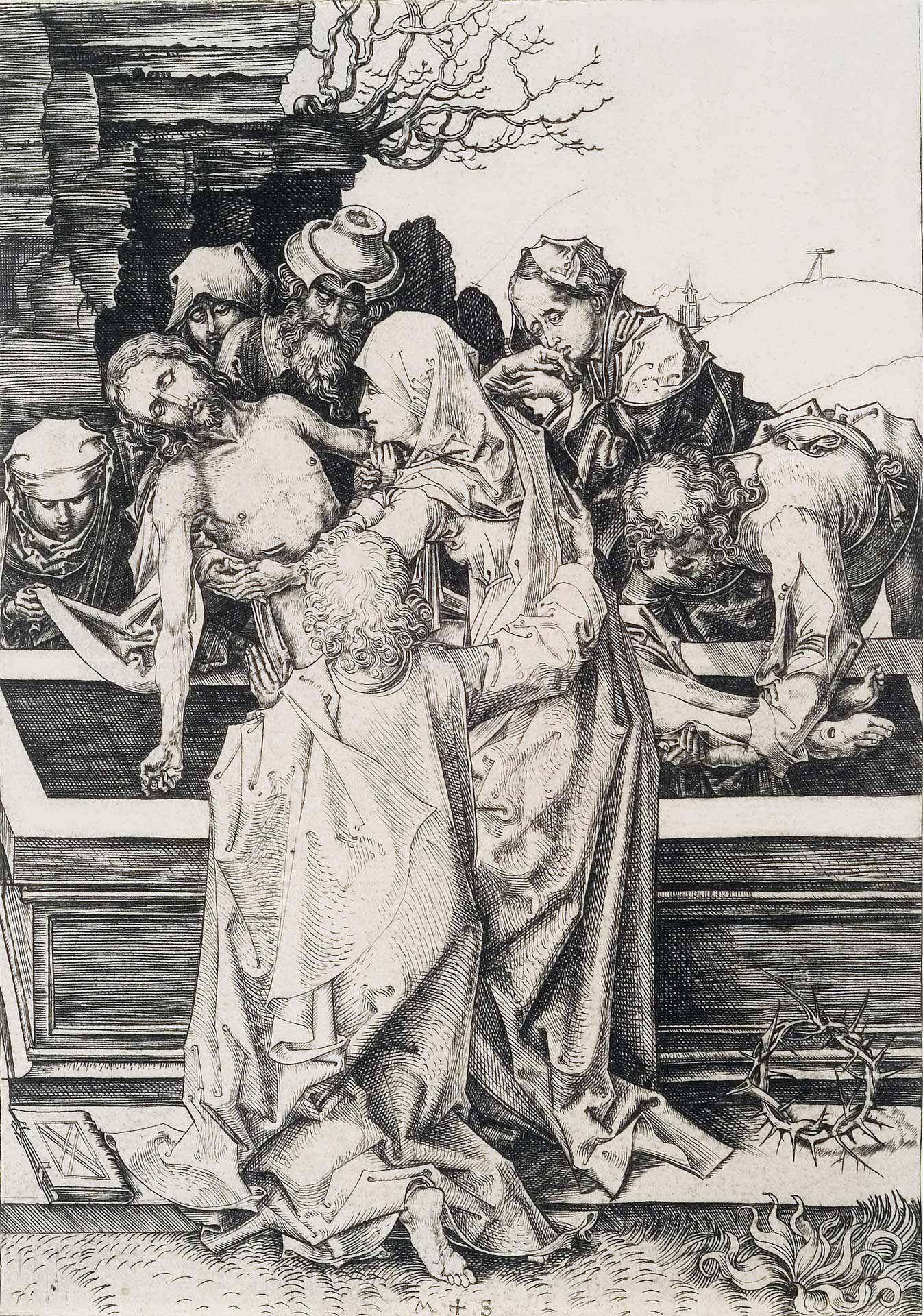 Martin Schongauer (1440/50-1491), La Mise au tombeau, vers ¬1480, burin, état unique. MBAM, achat, fonds anonyme