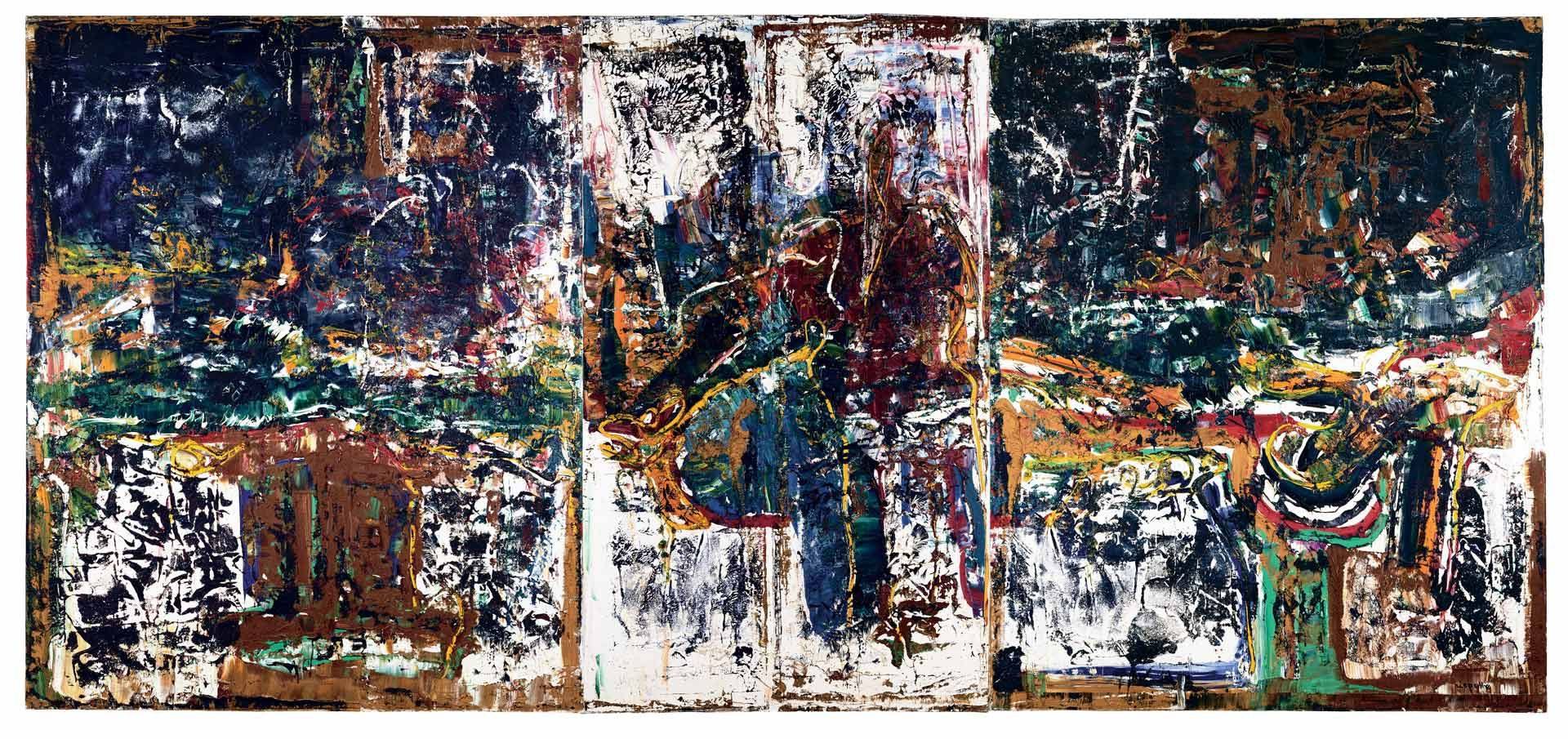 Jean Paul Riopelle (1923-2002), D'un long voyage (triptych), 1973, oil on canvas, 162.6 x 355.6 cm. Private collection. © Estate of Jean Paul Riopelle / SOCAN (2020). Photo archives catalogue raisonné Jean Paul Riopelle