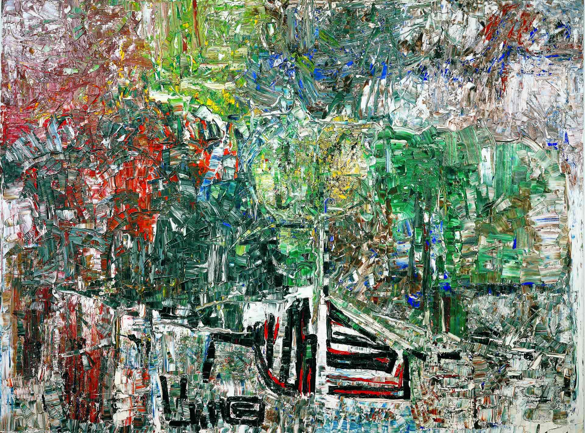Jean Paul Riopelle (1923-2002), L'étang – Hommage à Grey Owl, 1970, oil on canvas, 299.5 x 400 cm. The Montreal Museum of Fine Arts, gift of the Canadian Imperial Bank of Commerce. Inv. 2001.184. © Estate of Jean Paul Riopelle / SOCAN (2020). Photo MMFA, Christine Guest