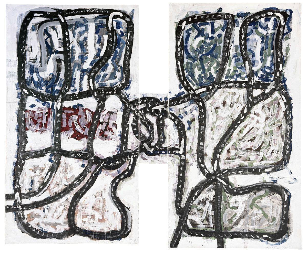 Jean Paul Riopelle, Montréal 1923 – L'Isle-aux-Grues 2002, Serge et Gauguin jouant à la ficelle (triptyque)