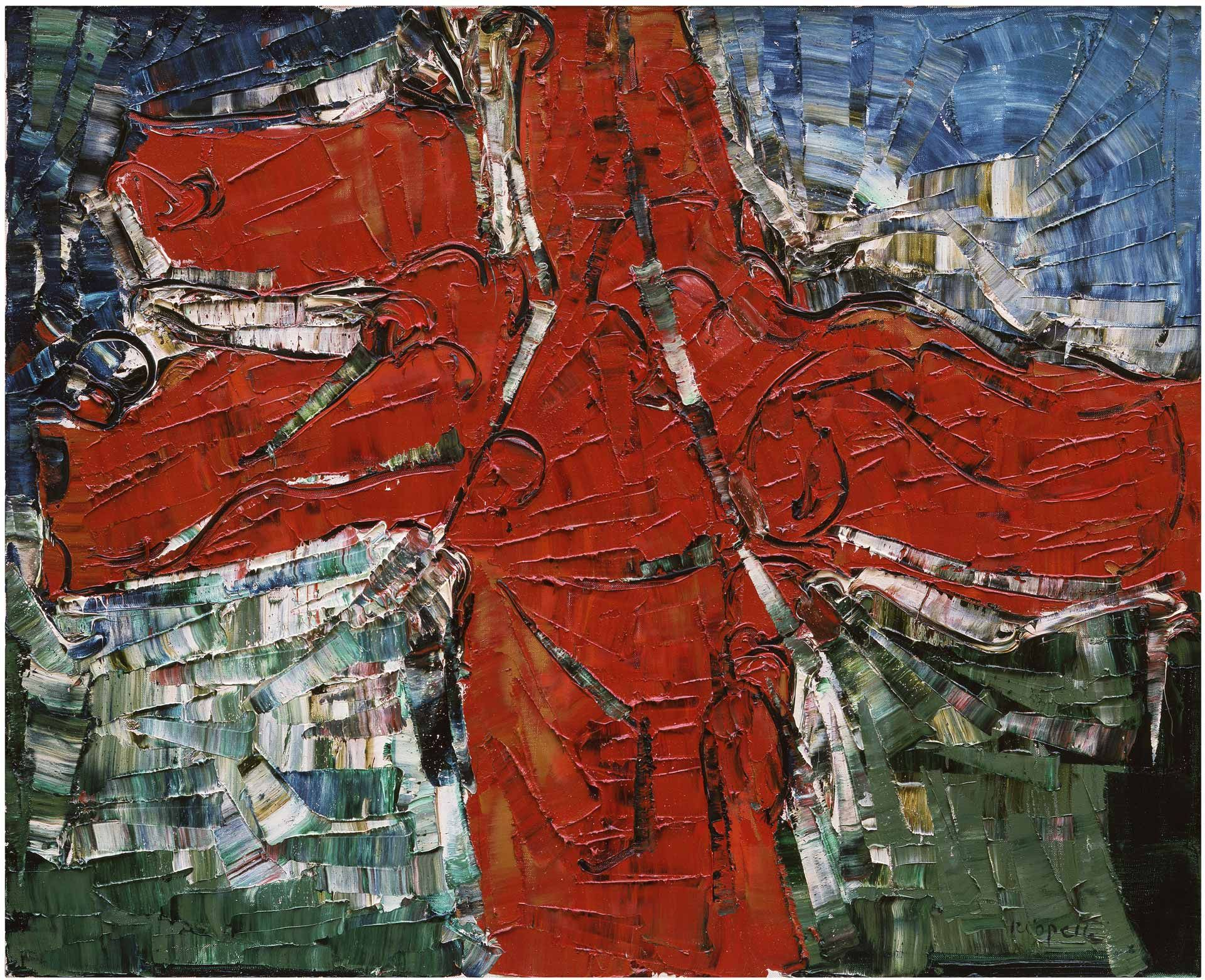 Jean Paul Riopelle (1923-2002), Inuit, 1977, oil on canvas, 82 x 101 cm. Collection of Charles Dutoit, Montreal. © Estate of Jean Paul Riopelle / SOCAN (2020). Photo Archives Catalogue raisonné Jean Paul Riopelle