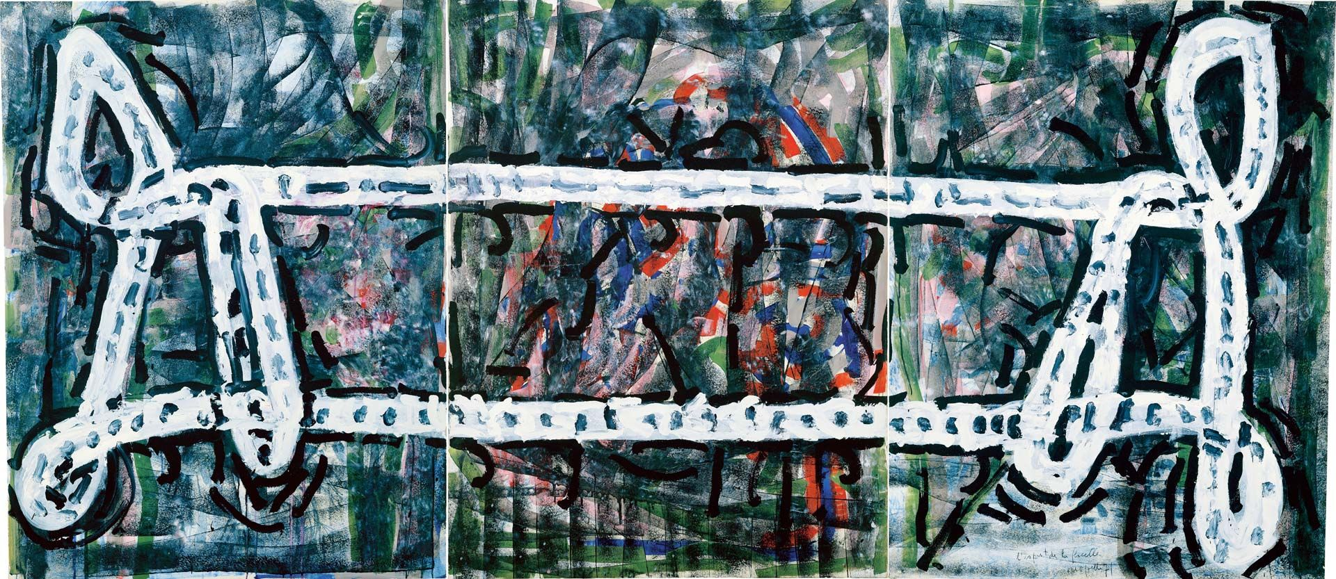 Jean Paul Riopelle (1923-2002), L'esprit de la ficelle (triptych), 1971, acrylic on lithograph mounted on canvas, 160 x 360 cm. Private collection. © Estate of Jean Paul Riopelle / SOCAN (2020). Photo archives catalogue raisonné Jean Paul Riopelle