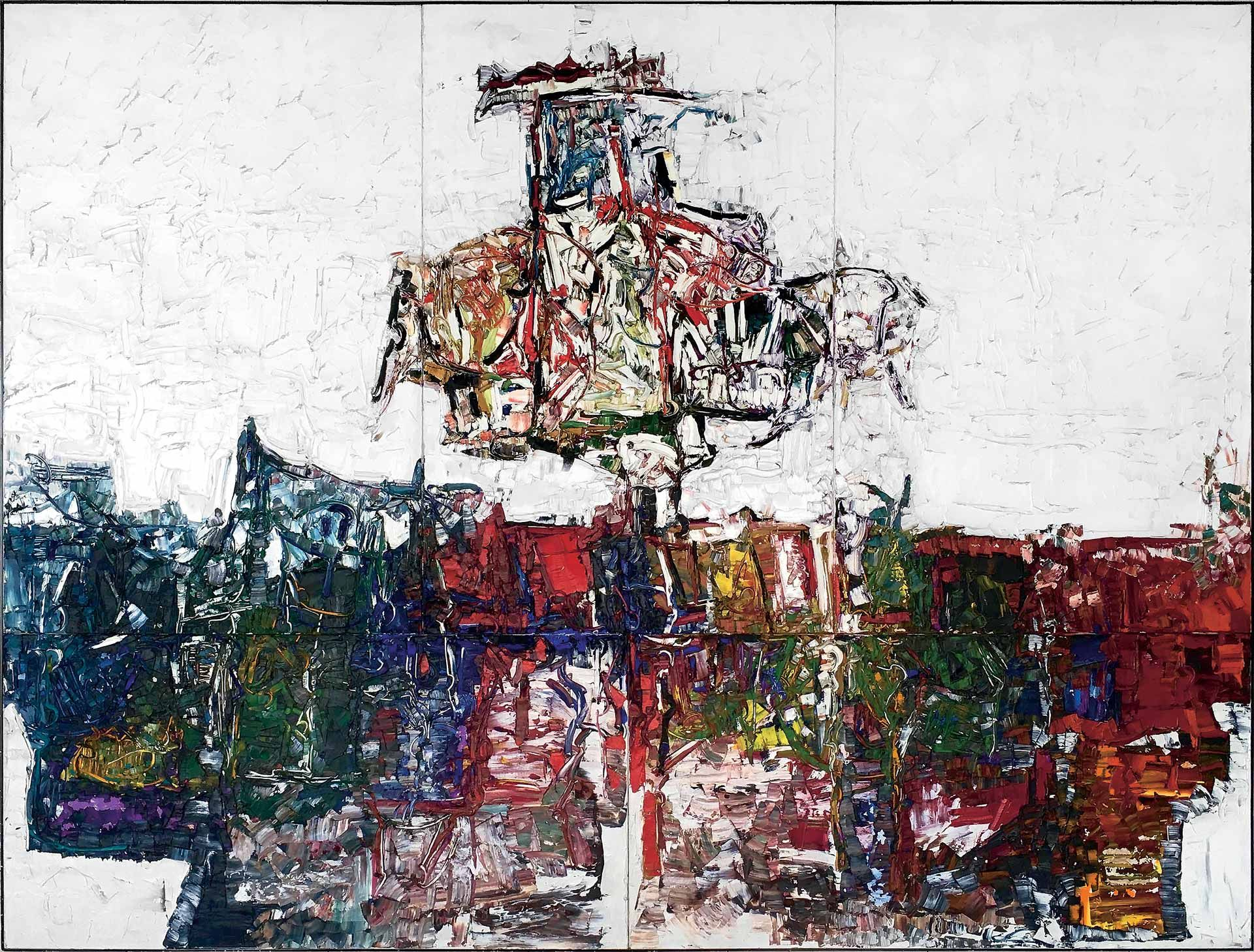 Jean Paul Riopelle (1923-2002), Point de rencontre – Quintette (polyptych), 1963, oil on canvas, 428 x 564 cm (5 panels). Centre national des arts plastiques, Paris. Inv. FNAC 90069. © Estate of Jean Paul Riopelle / SOCAN (2020). Photo CNAP