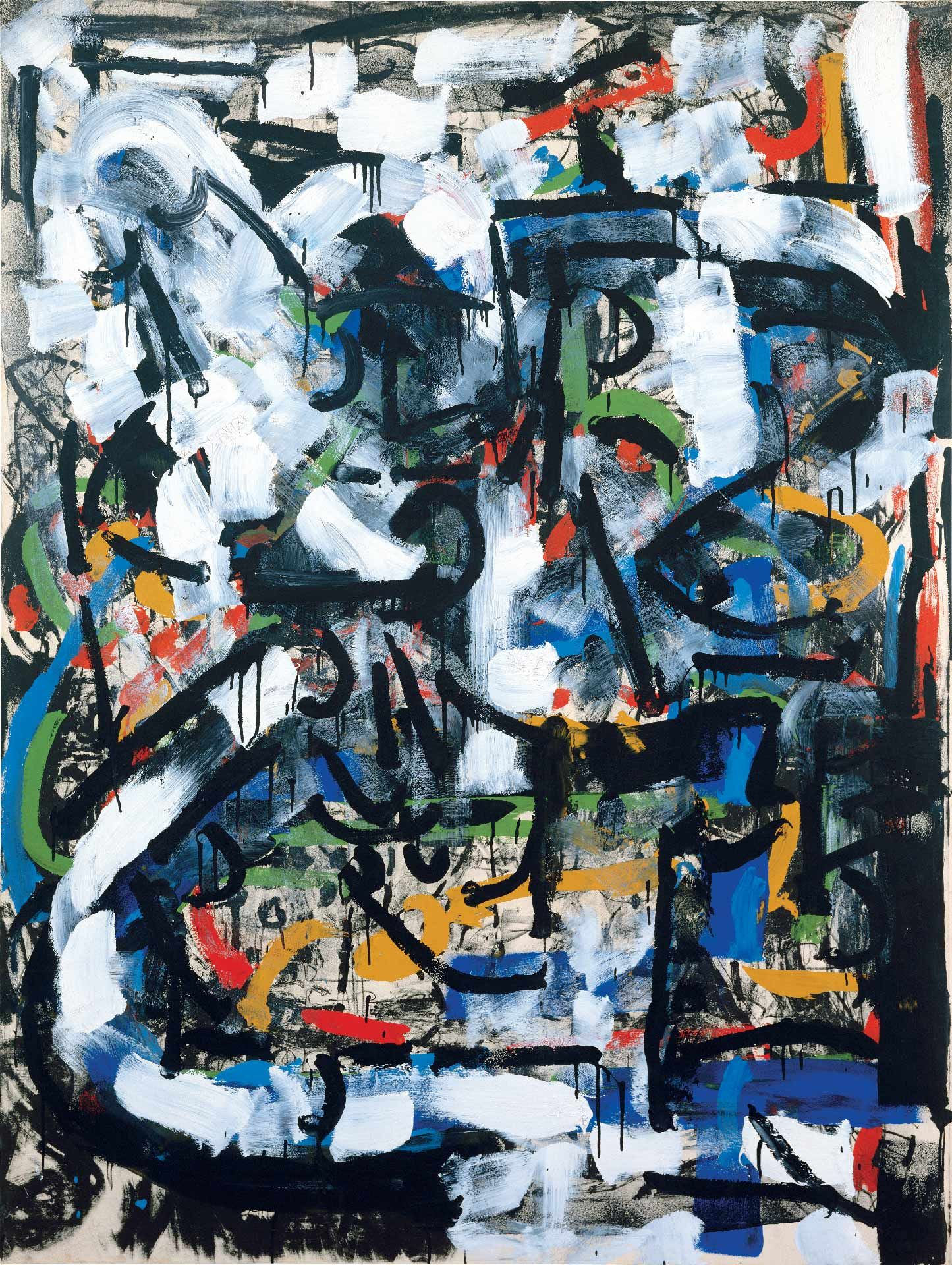 Jean Paul Riopelle (1923-2002), Landscape, 1971, acrylic on lithograph mounted on canvas, 160 x 120 cm. Collection of the Charest family. © Estate of Jean Paul Riopelle / SOCAN (2020)