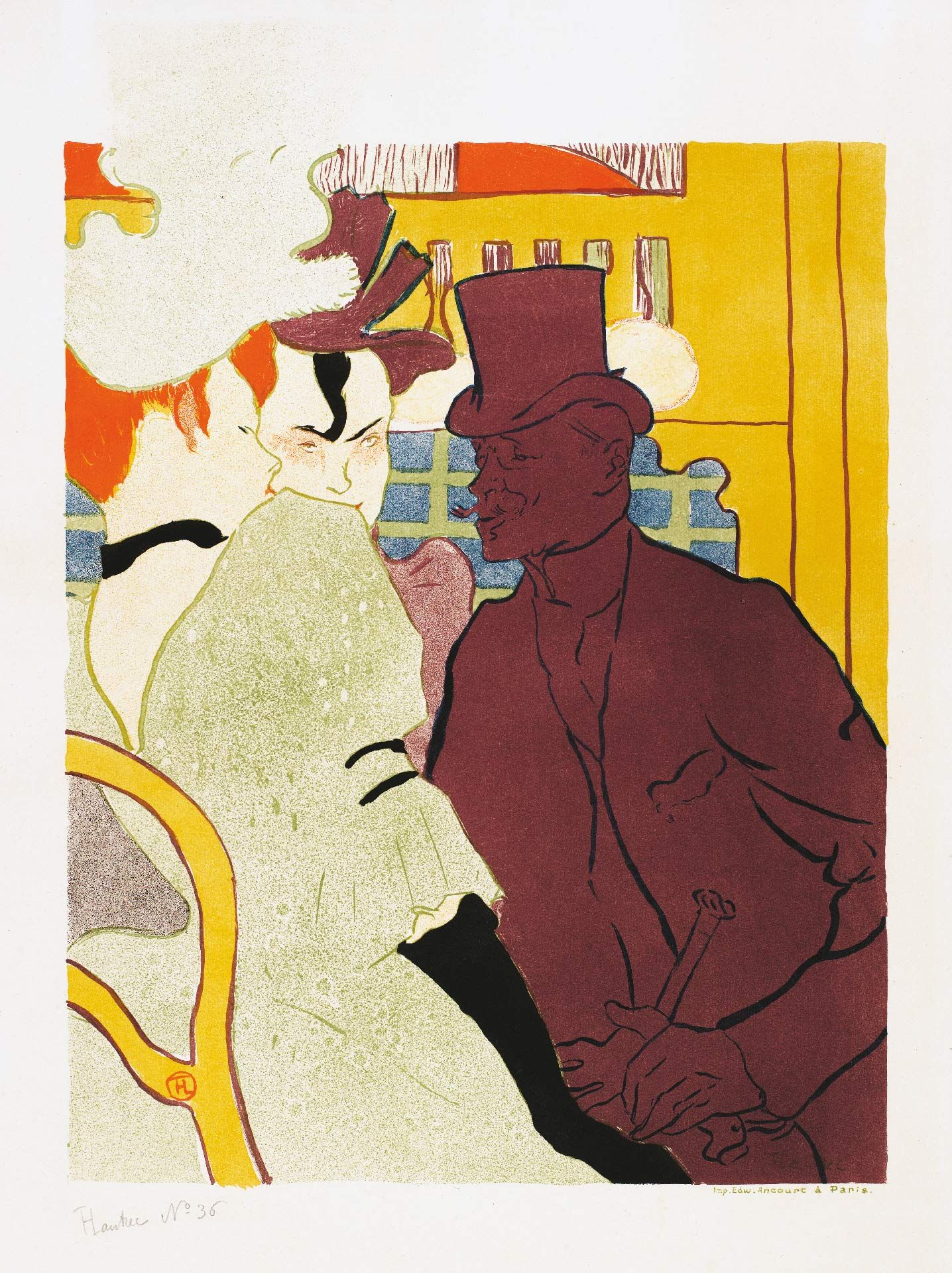 Henri de Toulouse-Lautrec (1864-1901), L'Anglais au Moulin Rouge, 1892, Brush and spatter lithograph, printed in six or seven colours. Key stone printed in olive green, colour stones in aubergine, blue, red, yellow and black on wove paper, State II/II, 53.4 x 37.5 cm. Private collection. Photo Peter Schälchi