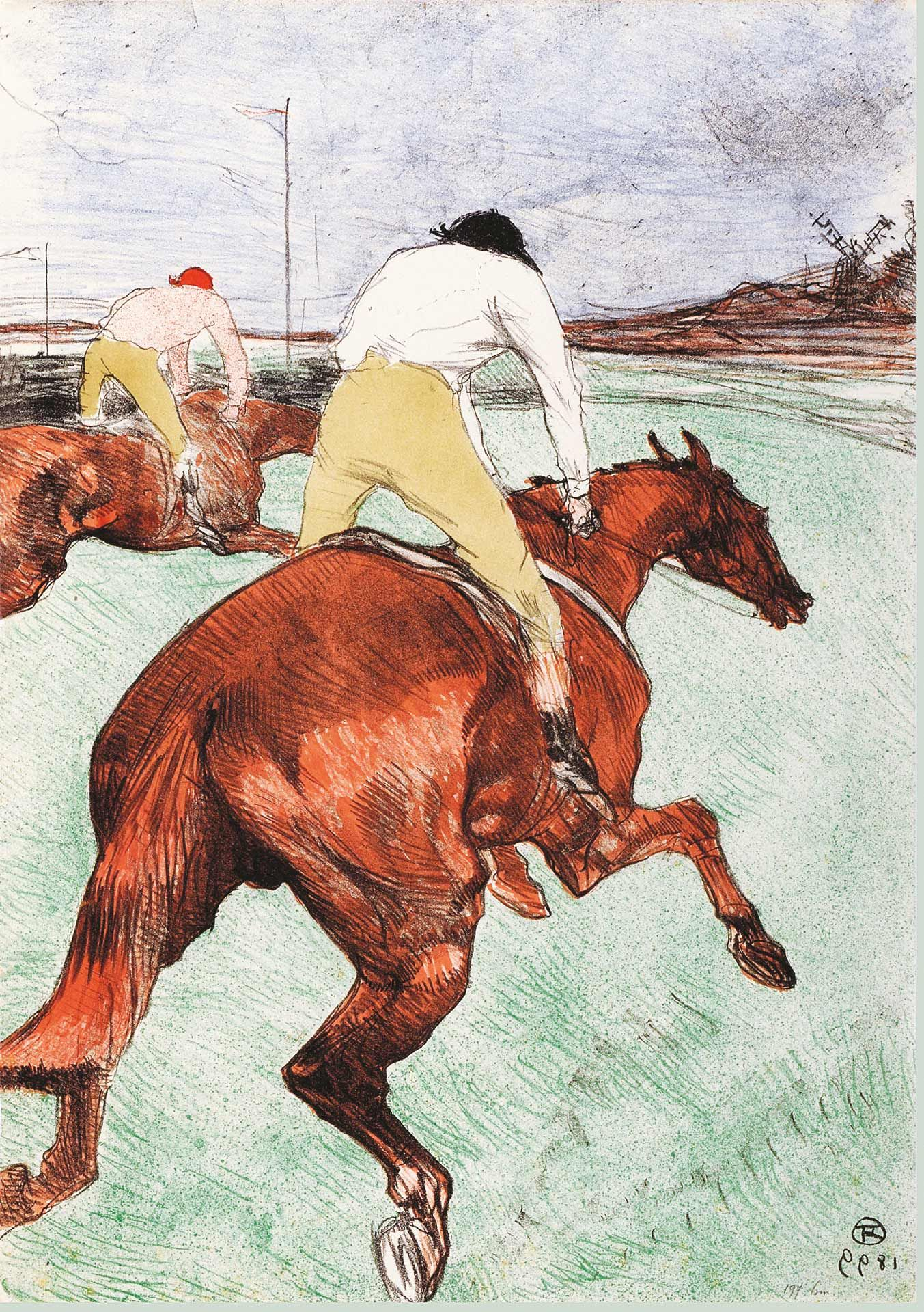 Henri de Toulouse-Lautrec (1864-1901), Le Jockey, 1899, crayon, brush and spatter lithograph, printed in six colours. Key stone printed in black, colour stones in turquoise-green, red, brown, gray-beige and blue on China paper, State II/II, 51.8 x 36.2 cm. Private collection. Photo Peter Schälchi